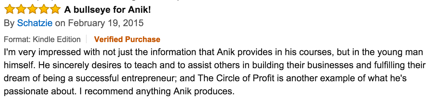 Circle Of Profit Amazon Review - A Bullseye For Anik