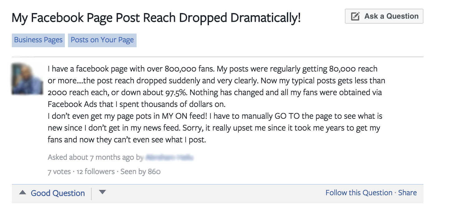 Facebook Fan Page Post Reach Drops Overnight