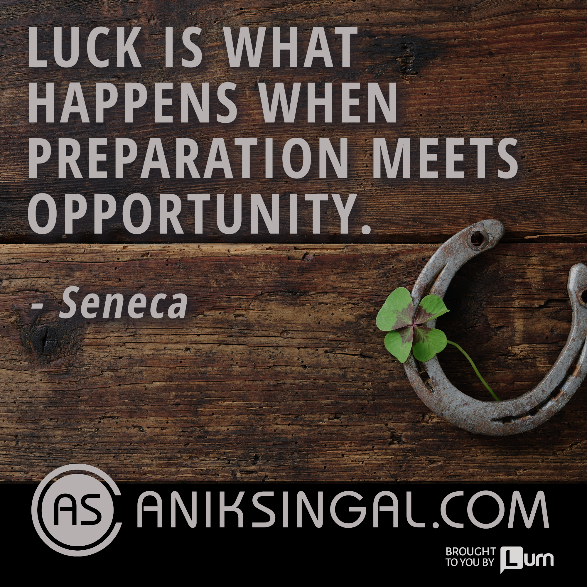 Luck is when preparation meets opportunity. Seneca