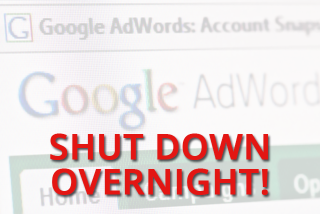 Google Adwords Shutdown