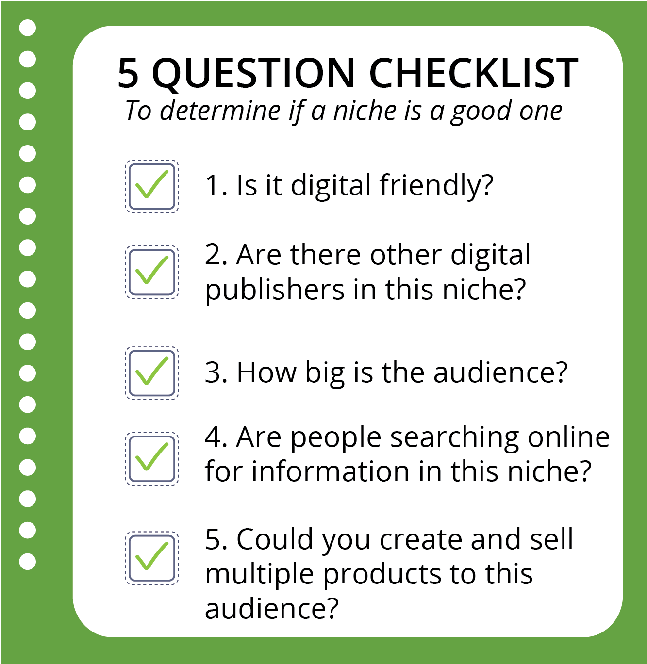 5 Question Niche Checklist