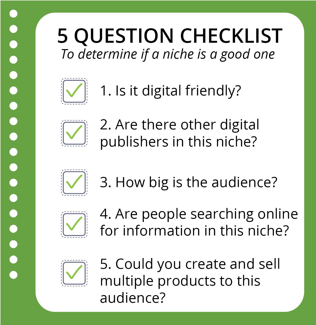 5 Question Niche Checklist