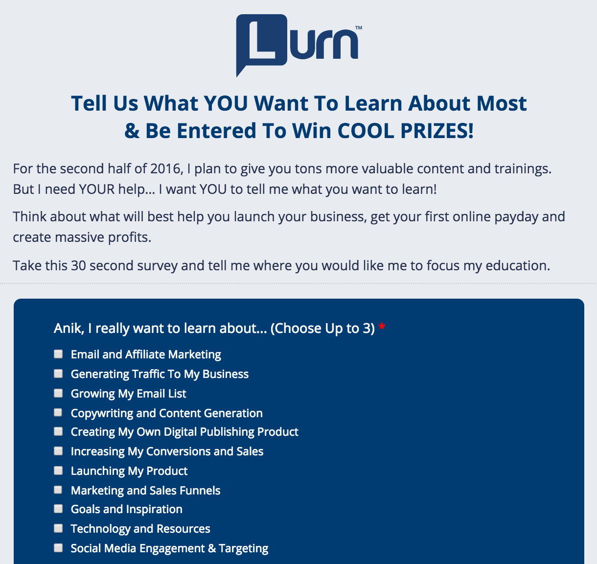 Lurn Survey Example