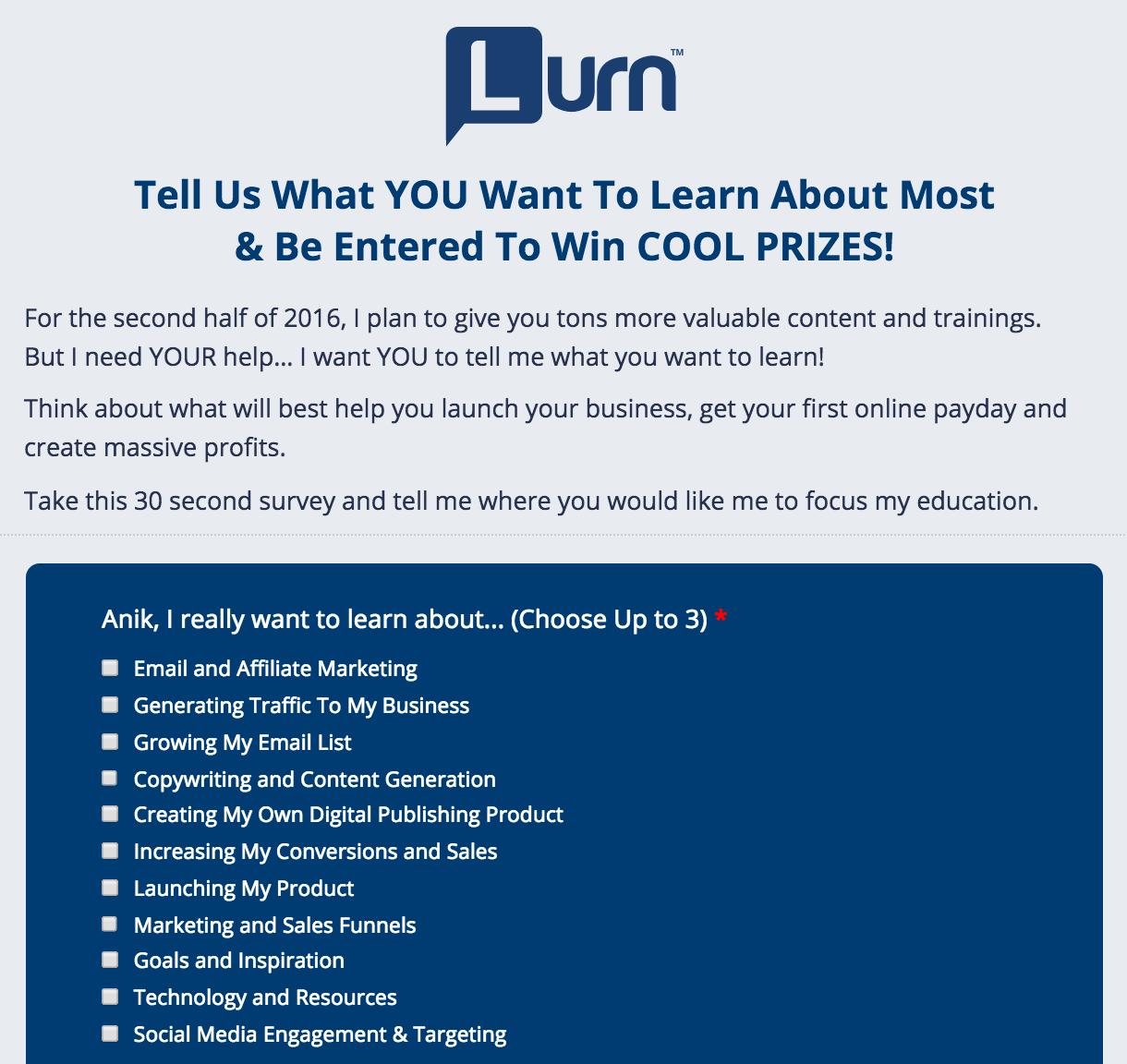 Lurn Survey Example