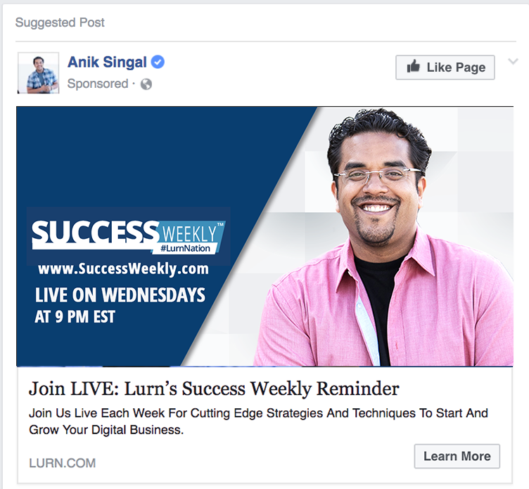 Success Weely Facebook Sponsored Ad Example