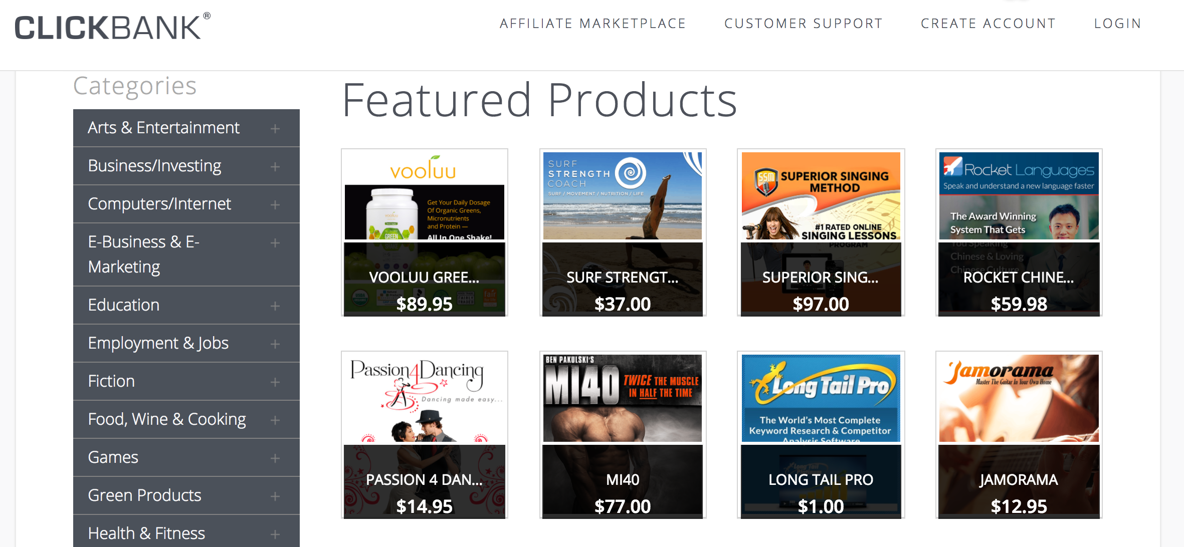 Clickbank Featured Products Example