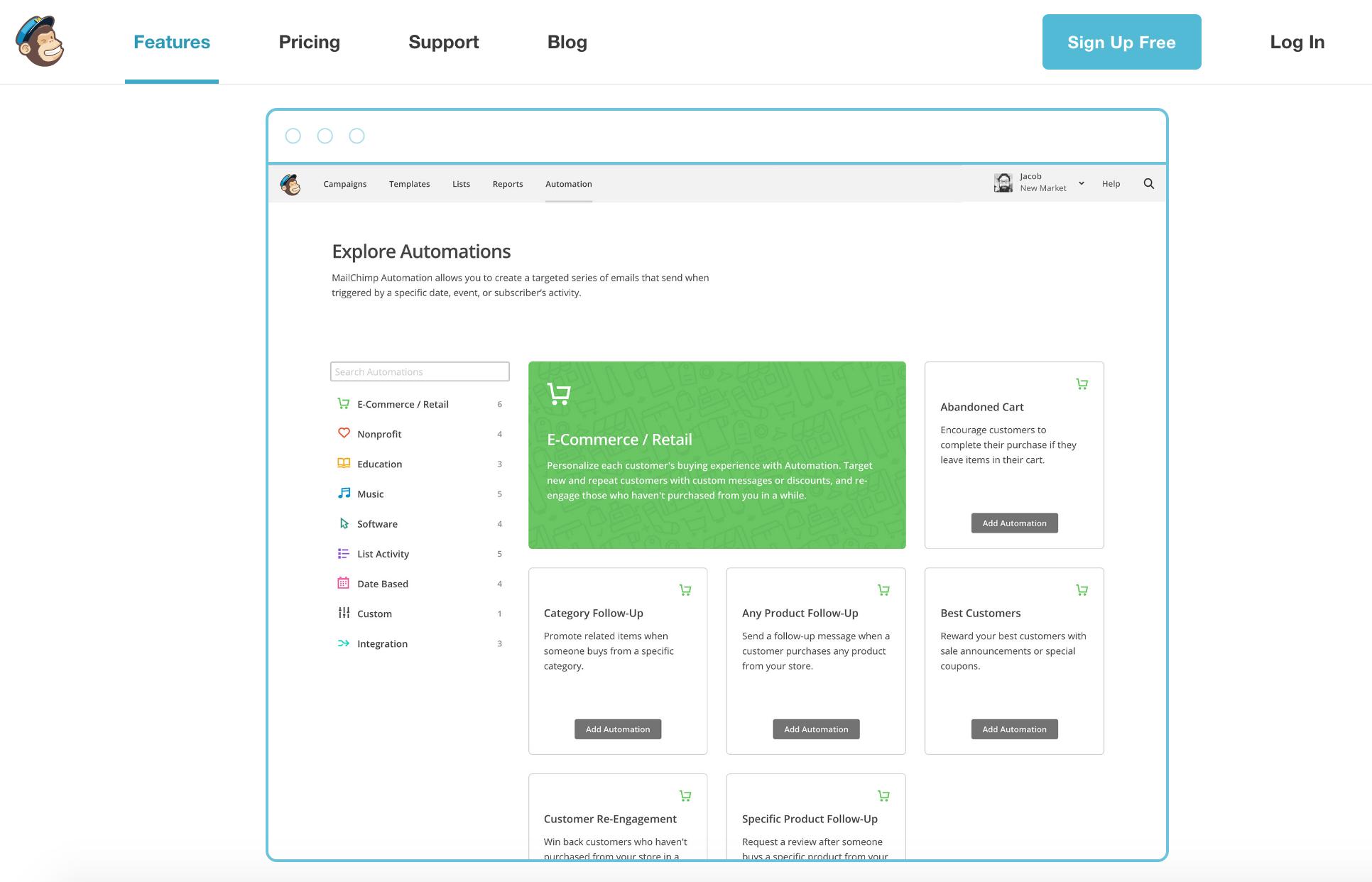MailChimp Website - Automation